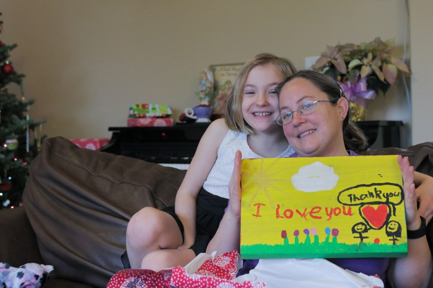 Mom and daughter showing Christmas present
