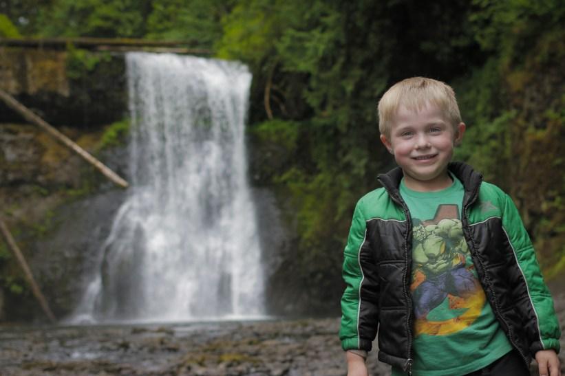 evan posing in front of silver falls