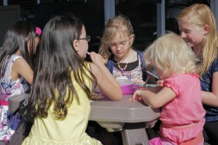 sitting at kid table friends