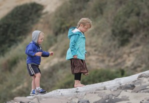 little brother and sister on lincoln city beach