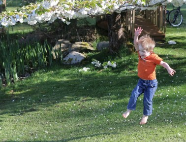 little blond boy airborne in park
