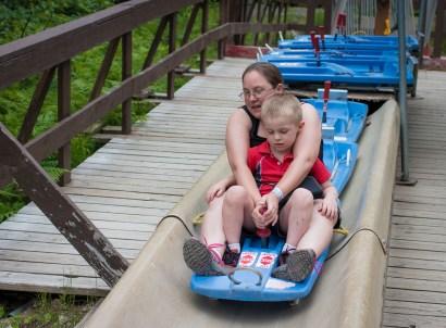 mom and son alpine slide mount hood
