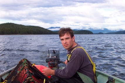 in a skiff with shrimp pot in Ketchikan
