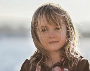 little girl backlit