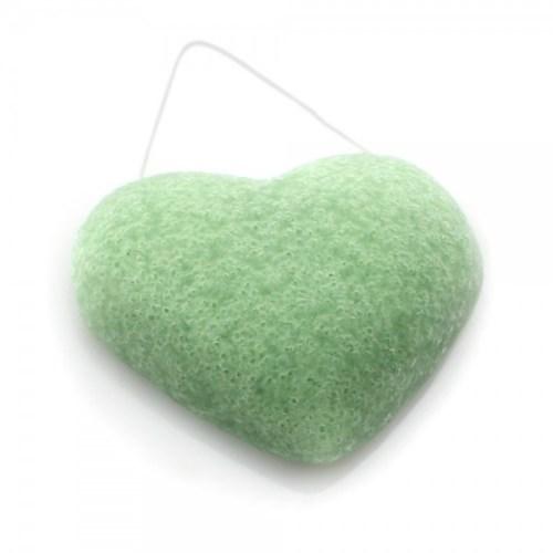 éponge de konjac coeur argile verte