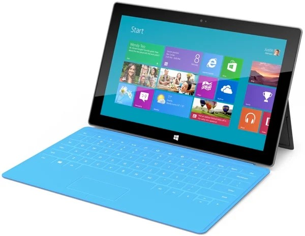 Microsoft Surface with kickstand deployed and touch cover attached