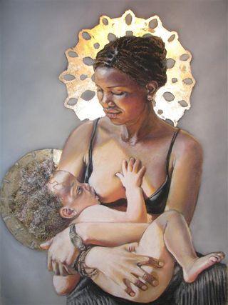 Black Madonna and Child Nursing