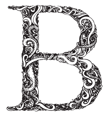 Capital Letter B - Elegant Vintage Swirly Style