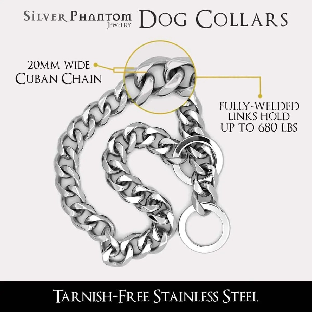 Stainless Steel Dog Collar 20mm Wide Dog Chain Necklace