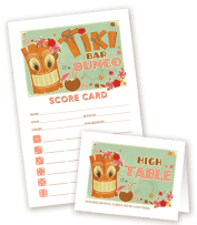 Tiki Bar Bunco Scorecard and Table Marker from MyBunco