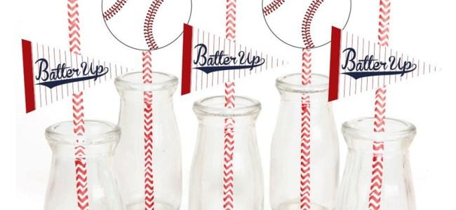 Baseball Party Straws