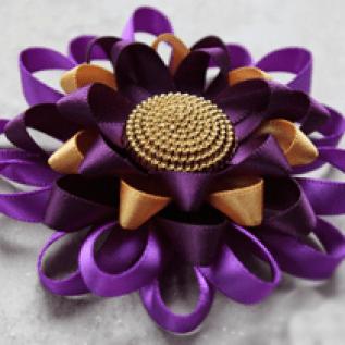 Purple Flower Corsage Pin