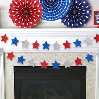 Fourth of July Glitter Star Garland Ribbon Banner