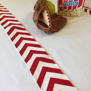 Baseball Red and White Table Runner