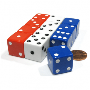 Set of 12 Large Six Sided Dice – Patriotic USA, Red White & Blue