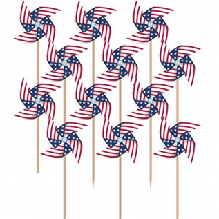 Patriotic Pinwheel in Wooden Tooth Picks – 4th of July Party Supply