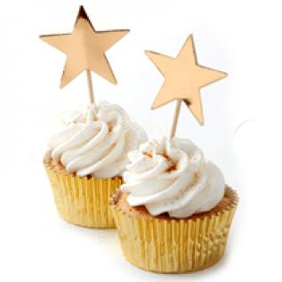 Gold Metallic Star Cupcake Topper