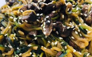 Zucchini Noodle and Mushroom Stir Fry