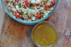 quinoa with cucumber, tomato, peppers and vinaigrette