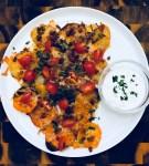 irish pub nachos with sweet and red potato