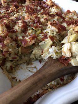 leek artichoke gruyere bread pudding