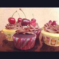 Cherry and raspberry cupcake