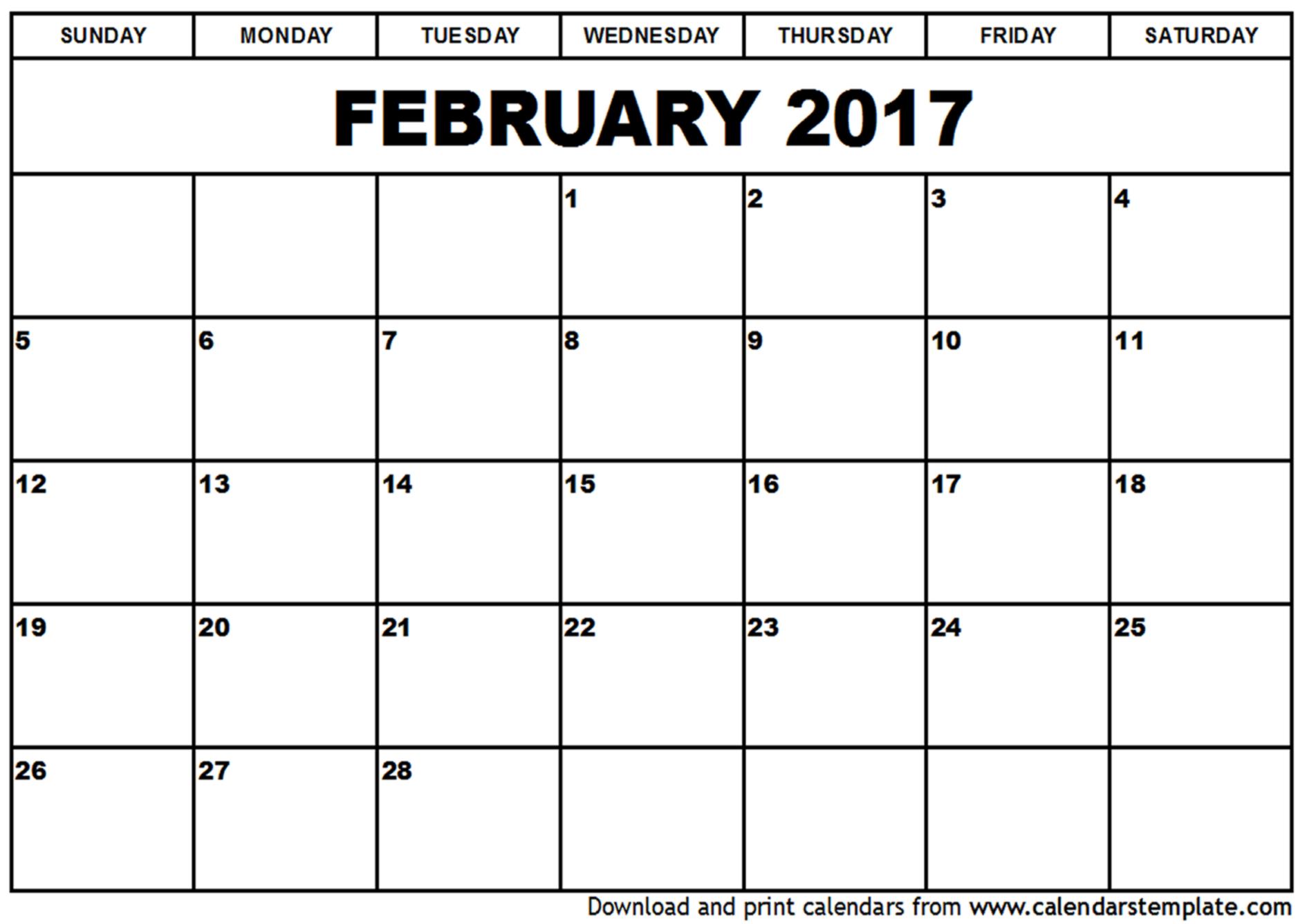 February Blank Calendar