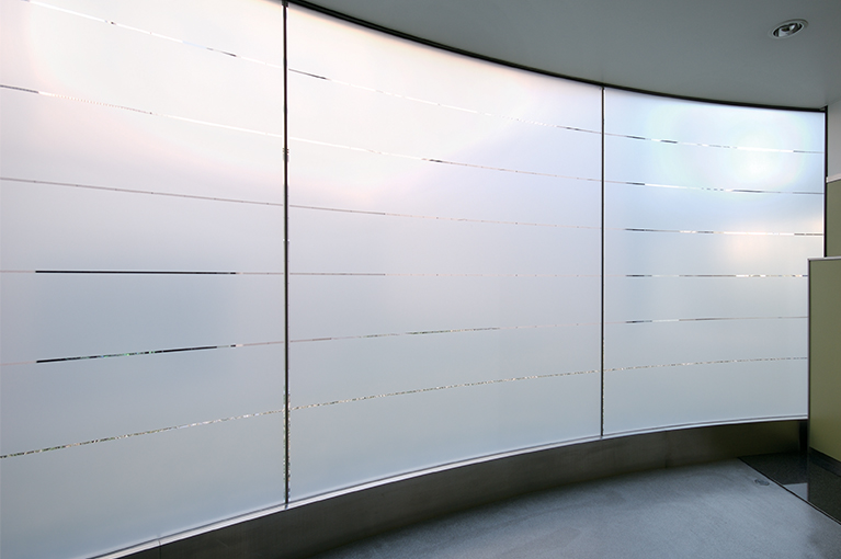 frosted film on commercial windows