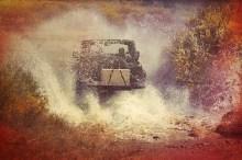Jeep Splashing Through Water with My Camp Kitchen Outdoorsman