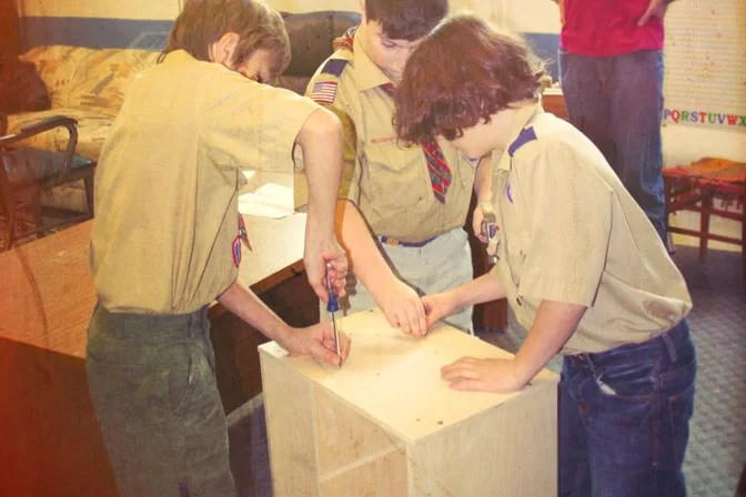 Boy Scouts Assembling Patrol Box Cropped