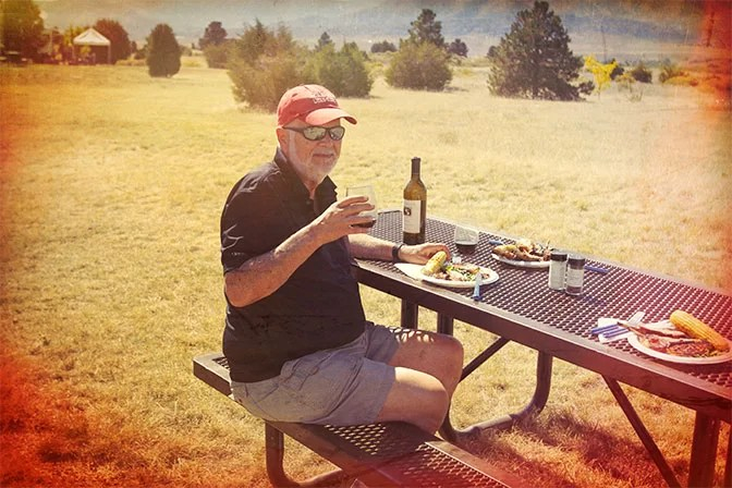 My Camp Kitchen Founder Richard Snogren Enjoying Outdoor Cooking