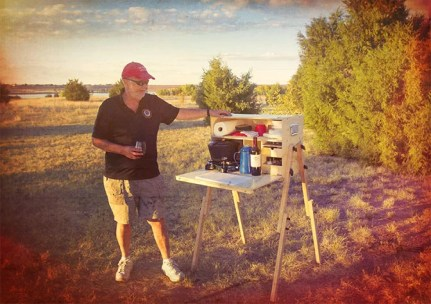 Richard Snogren with My Camp Kitchen Outdoorsman at Sunset