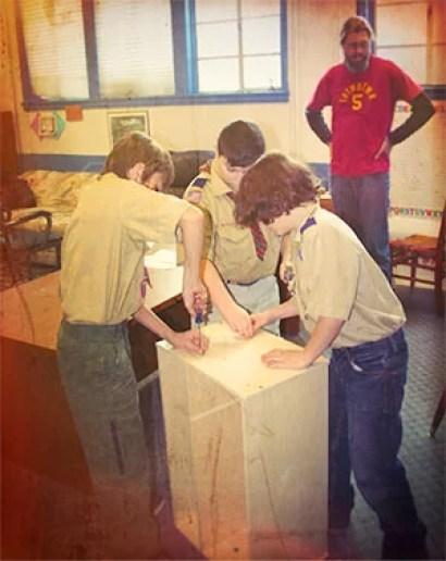 Boy Scouts Assembling My Camp Kitchen Patrol Box