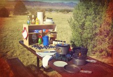 My Camp Kitchen Cooking Gear Spread out on Table