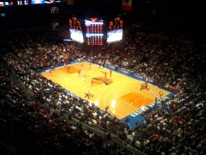 Knicks playing at Madison Square Garden, New York