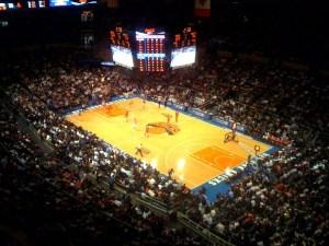 Knicks playing at Madison Square Garden, New York
