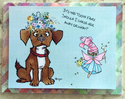 I added the flowerrs on the head of this cute little puppy from Mos Digital stamps with my Printmaster program. The background is from PM too!