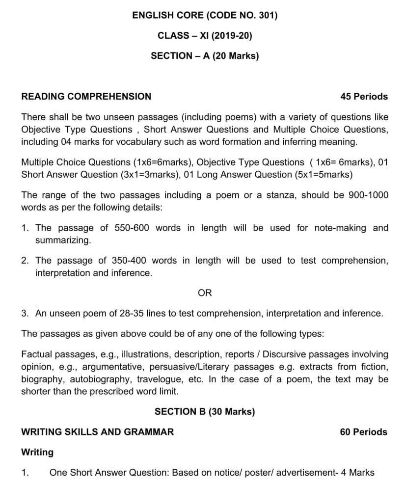 CBSE Syllabus for Class 11 English - 2019-2020 Syllabus PDF