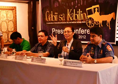 TOUR THEMES. Dr. Jocelyn Gerra, executive director of the Ramon Aboitiz Foundation Inc. (RAFI)-Culture and Heritage, says this year's Gabii Sa Kabilin offers different tour themes. Click on photo to enlarge. At right is Cebu City Police Office Director Ramon Melvin Buenafe, who assured participants of their safety. (PHOTO PROVIDED BY RAMON ABOITIZ FOUNDATION INC.)