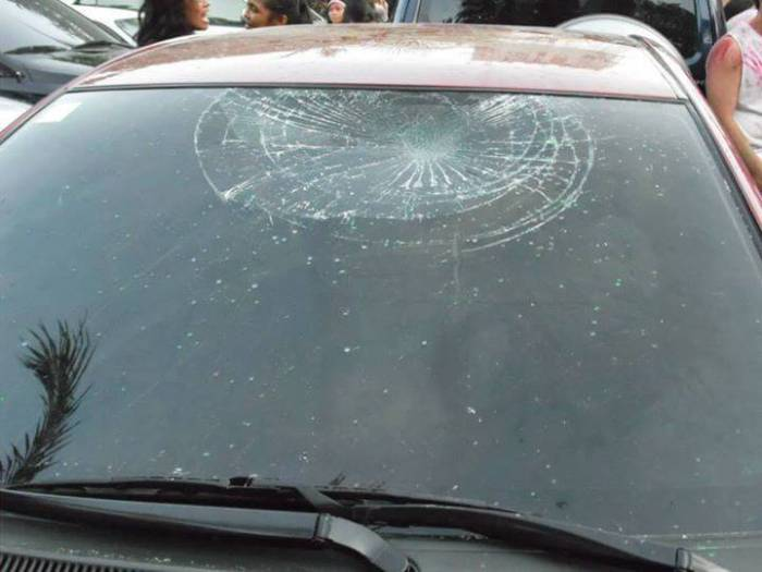 DAMAGED. A MyCebu.ph FB community member submitted this photo saying this car was damaged amid the rowdy Sinulog revelry. We have not, however, been able to independently confirm its veracity.