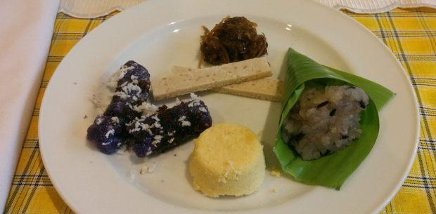 Panghimagas or desserts. Masareal, polvoron, puto bumbong, puto, biko.