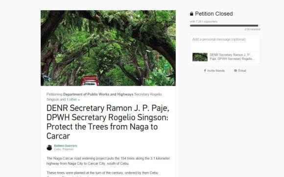 PETITION. Heritage interpreter Balbino Guerrero started an online petition to stop the cutting of the trees.