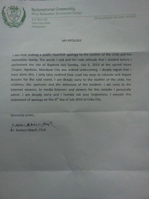 APOLOGY. The letter written by Fr. Romeo Obach to apologize to an unwed mother he scolded when he baptized her child.
