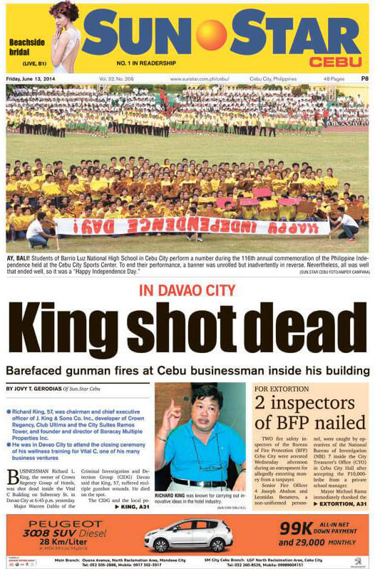 KILLED. Sun.Star Cebu's front page story on the killing of Richard King. (Taken from Sun.Star Facebook Page)