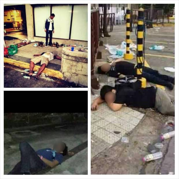 PASSED OUT. They passed out after a night of heavy partying.  We're blurred their faces to protect them from embarrassment.(Photos posted on Facebook by Carlo Borromeo)