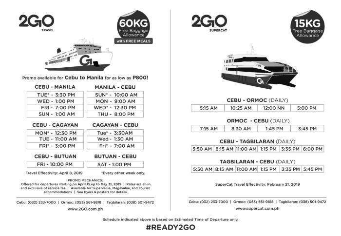 2Go Travel and 2Go Supercat schedules Cebu