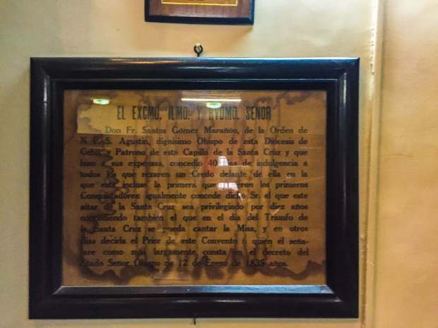 PLENARY INDULGENCE. This framed document found in the basilica library is the actual plenary indulgence granted by Cebu Bishop Santos Gomez Marañon for the Magellan's Cross.