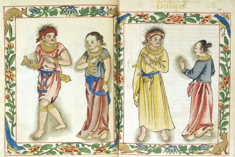 ROYAL CLASS. A Visayan kadatuan and his wife (left) wearing the red color of their class are shown in this Boxer Codex illustration. At right is a timawa couple, who are lower than royals but of higher class than the uripon or slaves.