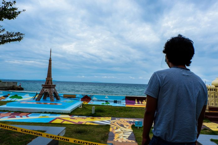 CORDONED OFF. We couldn't get near the replica of global landmarks in the Sands Gateway Mall in Danao City.
