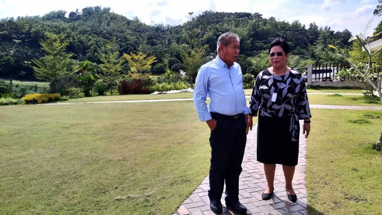 Duros Group Chairman of the Board Rafaelito Barino and President Fe Barino at Liloan Golf, an international golf course their company is completing in Liloan.